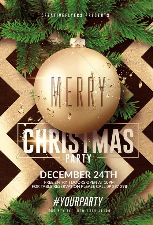 Flyer Merry Christmas Psd Templates - CreativeFlyers