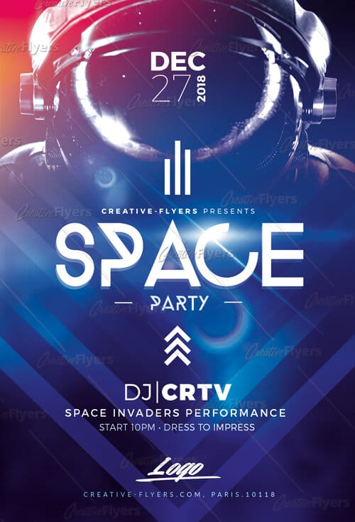 Space Party flyer template