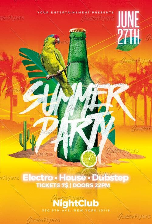 download beach party flyer template psd creativeflyers