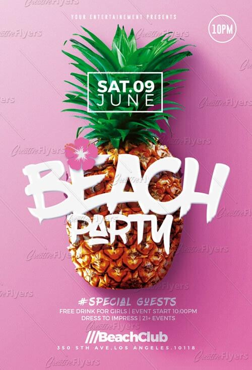 Beach Party Flyer  Download Psd Templates  Creativeflyers