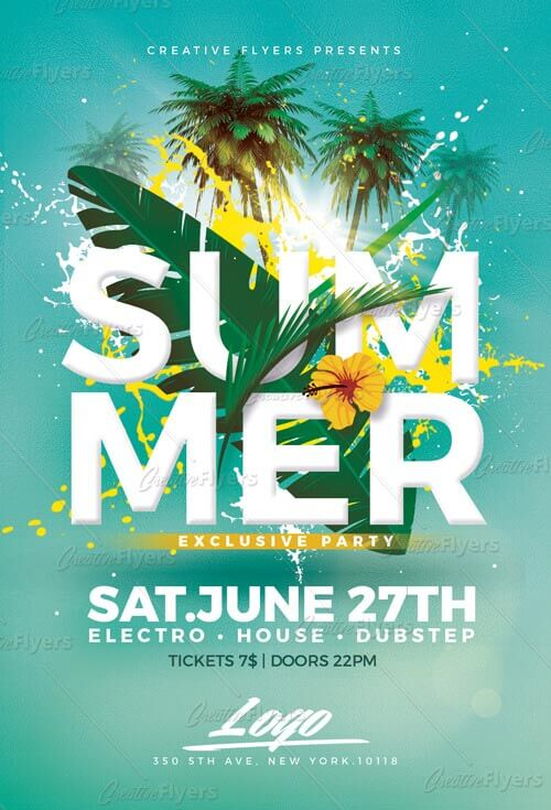 summer party psd flyer templates creativeflyers