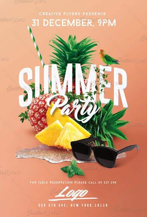 summer templates flyer Psd