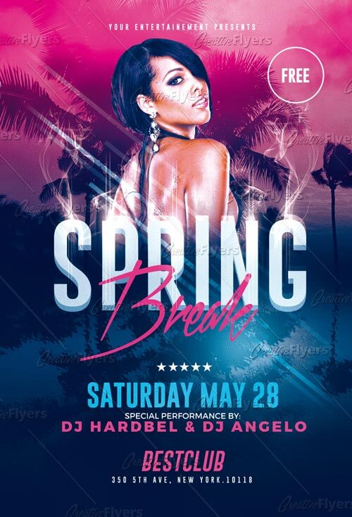 Spring Break Flyer Templates Psd