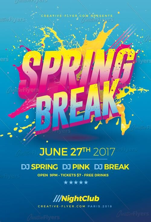 Spring Break Psd Flyer Template  Creative Flyers