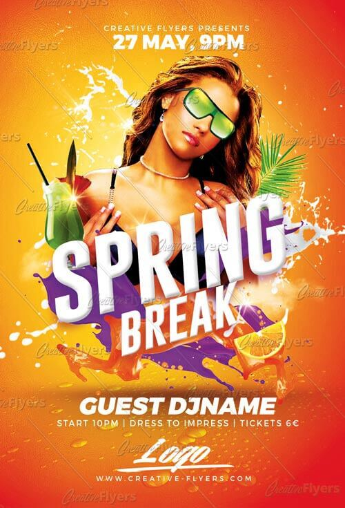 Spring Break Party Flyer Templates