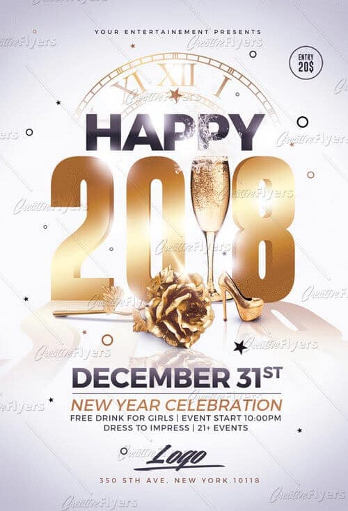 new year flyer templates psd