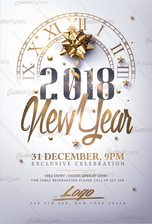 New Year Invitation Flyer Psd Templates ~ Creative Flyers