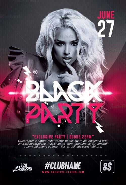 black party flyer template psd