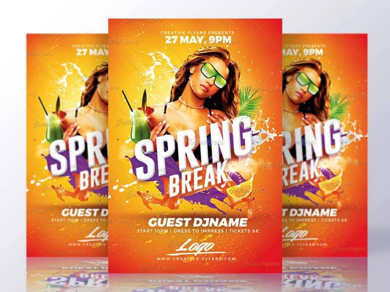 Spring Break Party Flyer Templates Psd