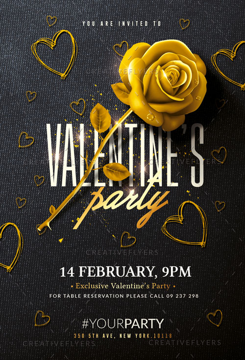 Black & Gold Valentines Party Flyer