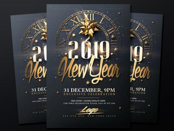 classy new year flyer templates