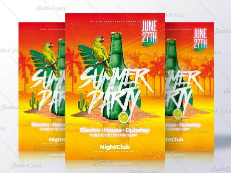 Summer Party Flyer Templates Psd