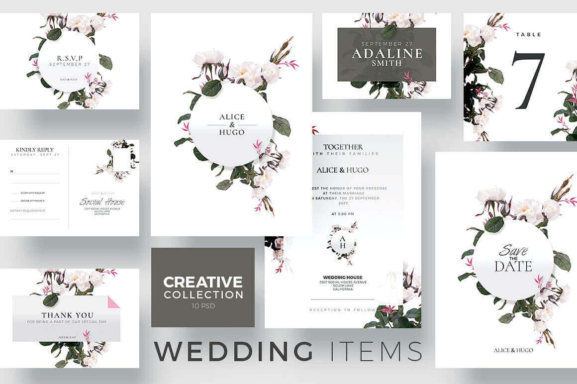 Wedding Invitation Suite Templates - Creative Flyers