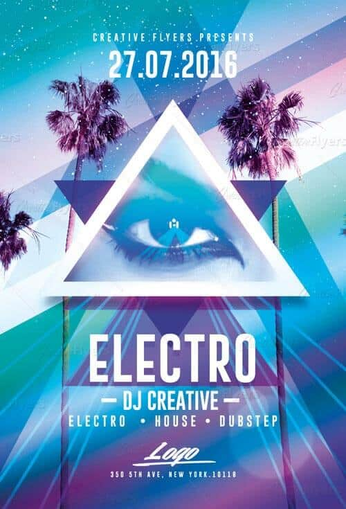 Electro Party flyer psd templates creativeflyers
