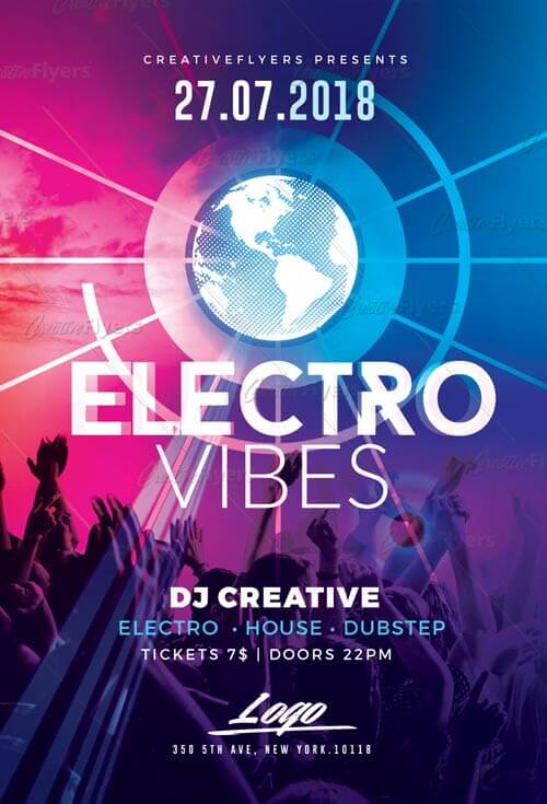 Electro Club Flyer Psd Templates