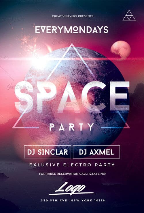 Space Party Psd Flyer Templates Creative Flyers