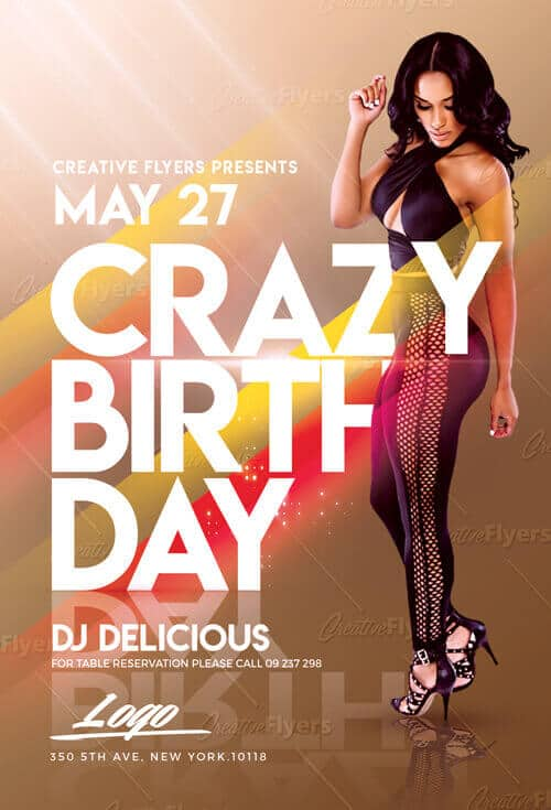 Crazy Birthday Flyer Templates Psd