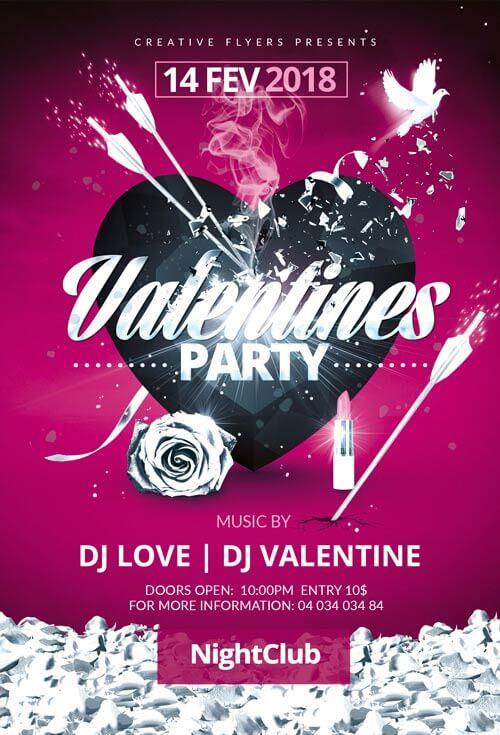 pink  u0026 black valentines day party flyer