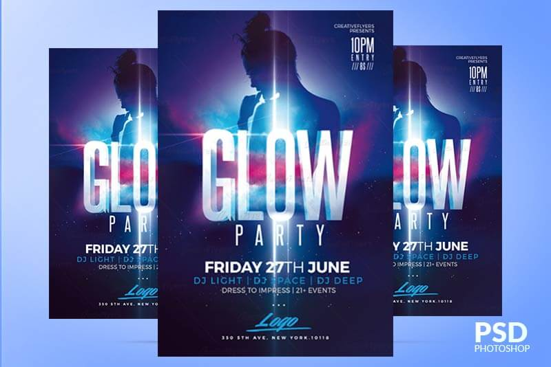 Glow Party flyer - Templates Creativeflyers