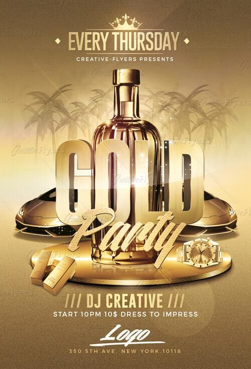 Gold Party Flyer Template - Creativeflyers