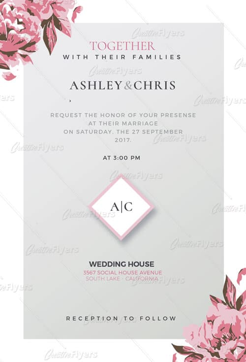 Download and edit wedding invitation psd templates creative flyers wedding invitation templates creativeflyers stopboris Images