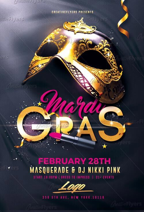 Download Elegant Mardi Gras Flyer Psd Templates Creative Flyers