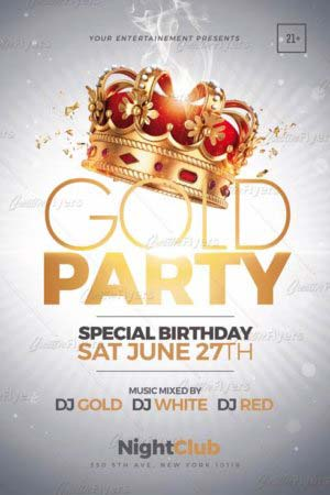 gold party flyer templates creativeflyers