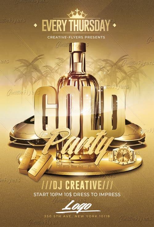 Gold Party Flyer Templates Psd