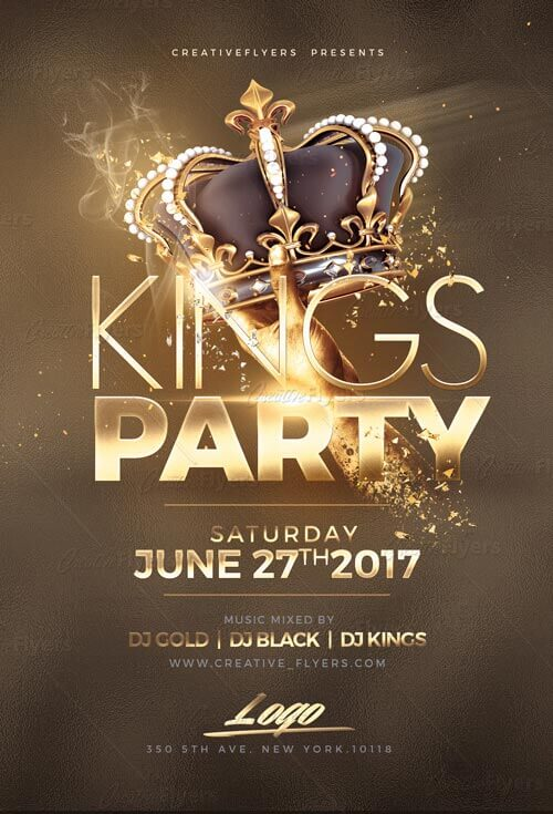 night of kings party flyer template psd