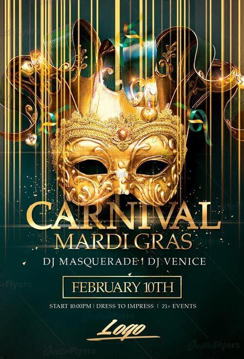Mardi Gras Flyer Templates Psd