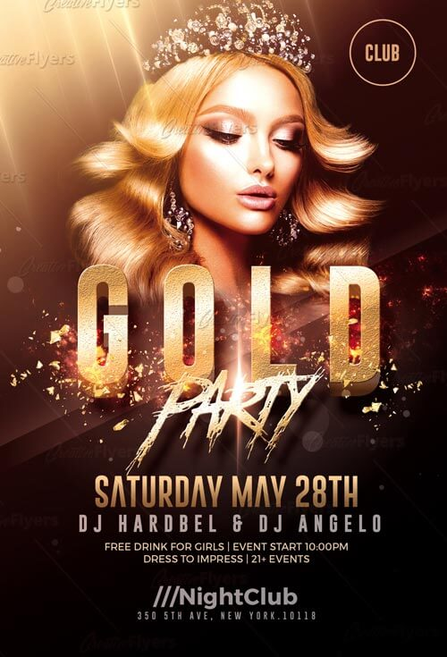 Download Gold Party Psd Flyer Templates Creative Flyers