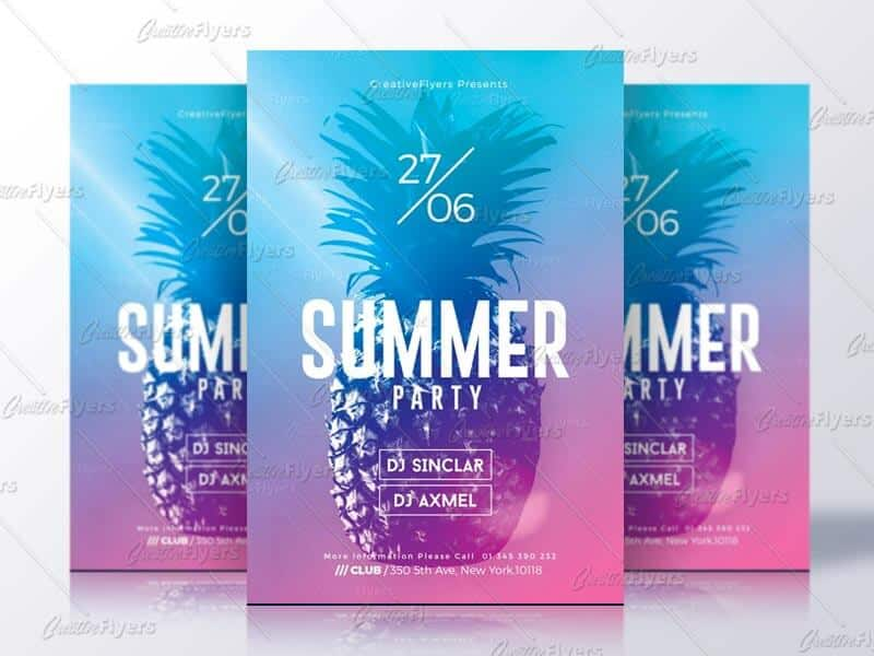 summer flyer party psd