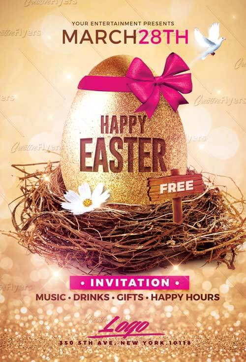 Psd Easter flyer Template