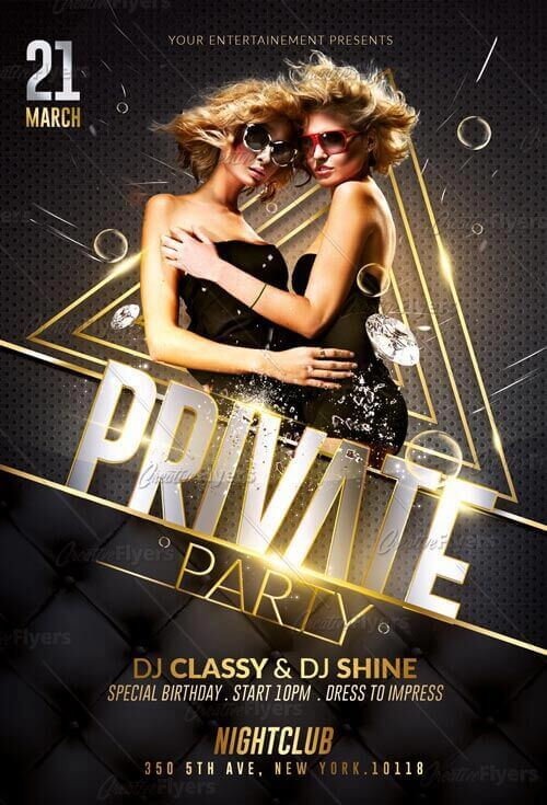 Private Party Flyer Templates Psd
