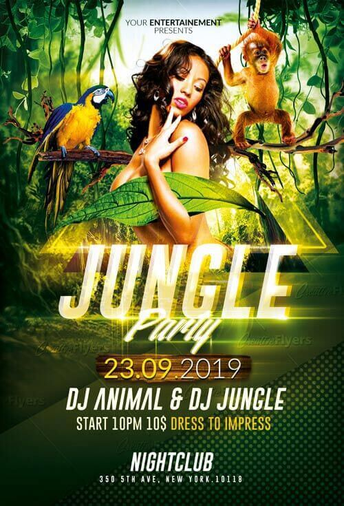 Jungle party flyer club psd templates creative flyers jungle party flyer creative flyers saigontimesfo
