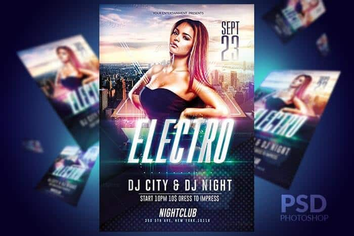 club electro flyer party creative flyers