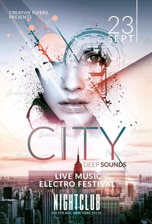 download electro music flyer template psd