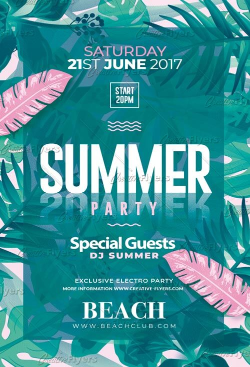 Summer Party Poster Template Psd - Creative Flyers