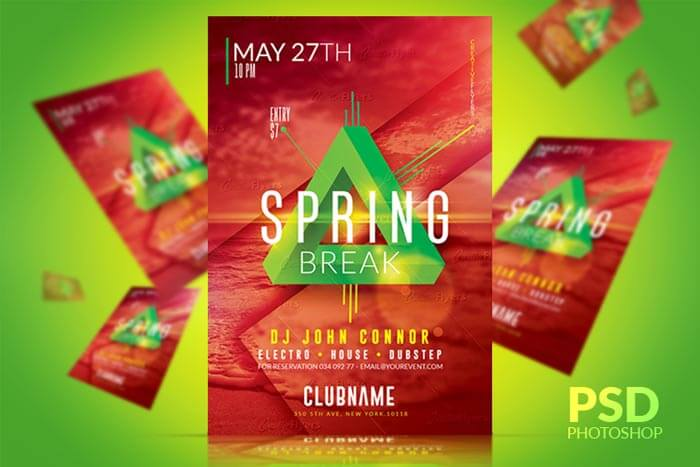 Spring Break Festival Flyer Psd