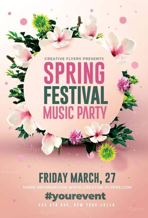 Spring Festival Party Flyer Psd