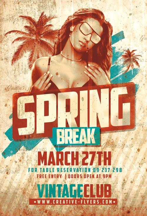 Spring Break Vintage Flyer Psd