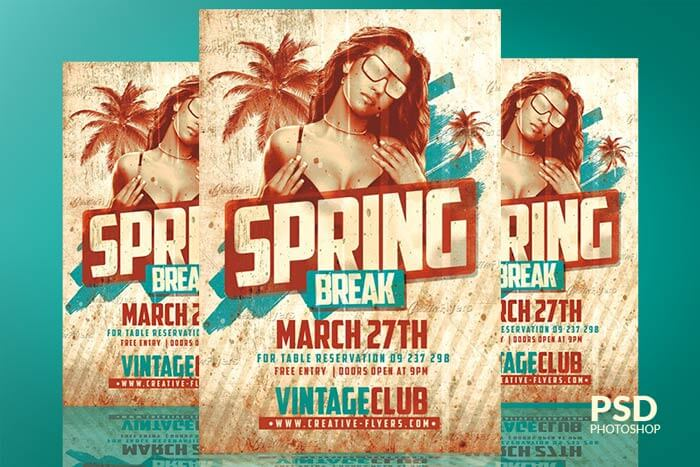 Spring Break Vintage Flyer Psd Creativeflyers