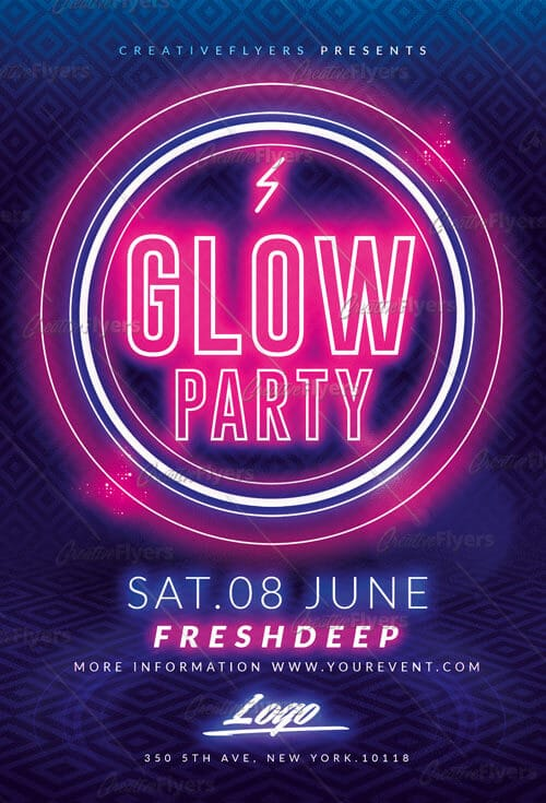 Glow Party flyer Templates