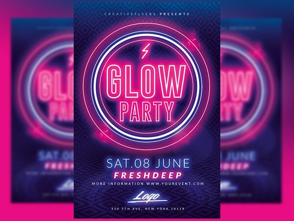 Glow party flyer Psd