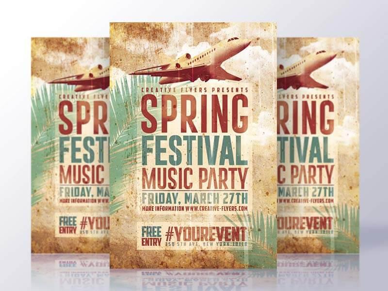 Spring Psd Flyer Vintage Template