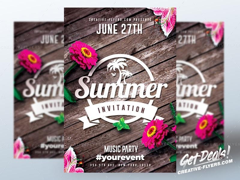 Summer Invitation Flyer template