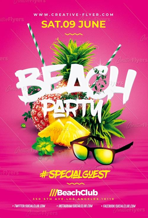 amazing beach party flyer psd template creativeflyers