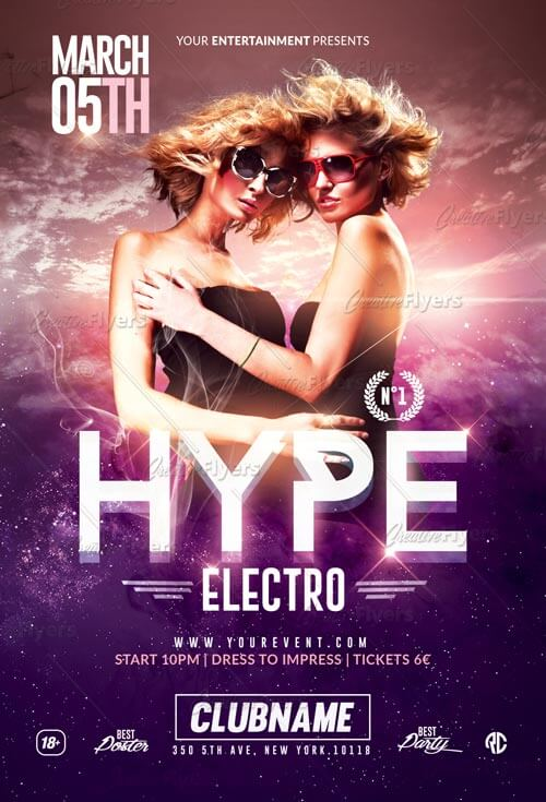 hype party psd flyer club psd