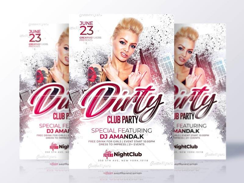 Dirty Club Party Flyer Psd