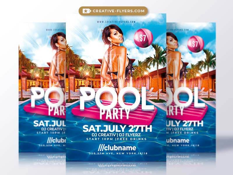 Pool Party Flyer Flyer Templates Creative Market - summer pool party ...